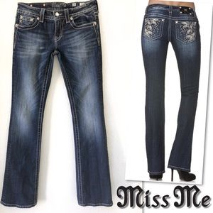Miss Me Jeans - MISS ME JP5858B JEWELED STUDDED BOOT CUT JEANS 28